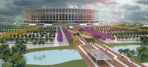 """Desenho ilustrativo do Projeto do Estádio Nacional de Brasília """"Mané Garrincha"""""""